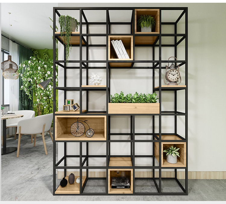 Tall Cafe Shop Decoration Bookshelves Industrial Style Metal Frame And Wood Box Bookcase Large Black Wrought Iron Bookshelf