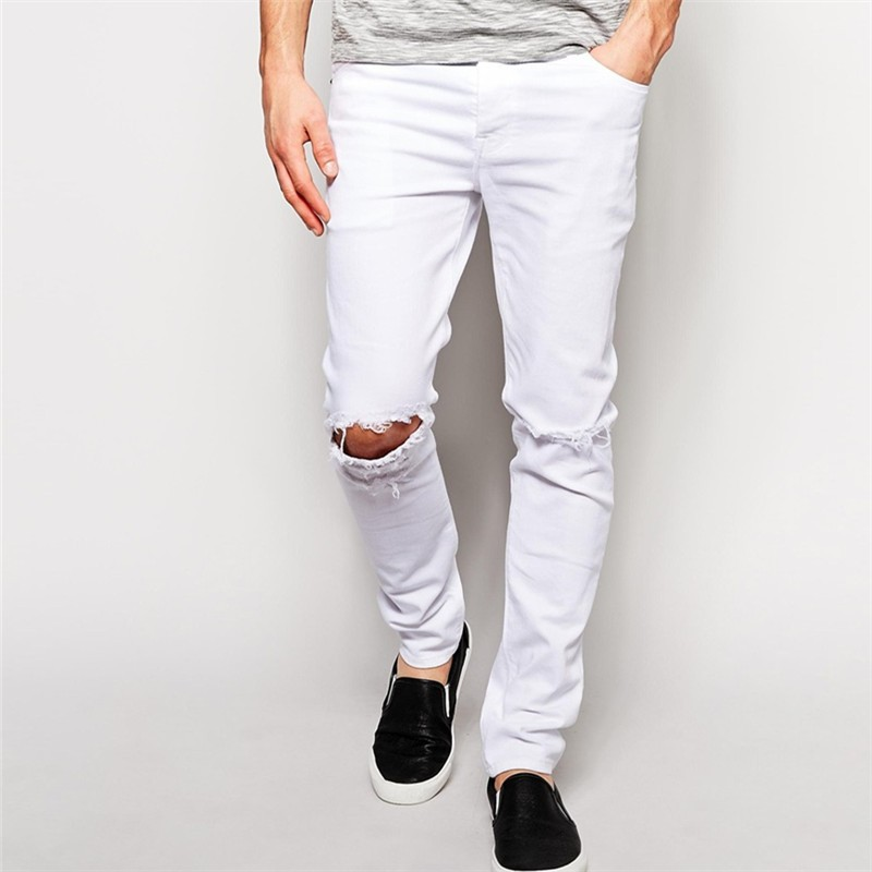 Skinny Damaged Jeans With Knee Rips In White Wash - Buy Damaged ...