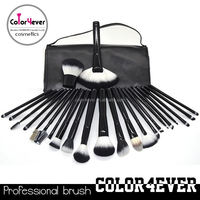 New and Classy Design professional 24pcs black makeup brushes with PU bag paint brush kit