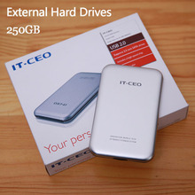 """Free shipping 2.5"""" Slim Portable HDD 250GB Original IT-CEO USB2.0 External Hard Drives Storage Disk Plug and Play On sale"""