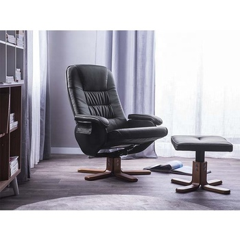 PU Leather Recliner Leisure Chair with Ottoman Stool Wooden Legs 5 Points Massager
