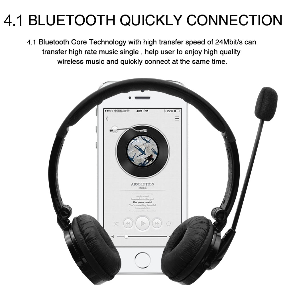 d502de58a8c Multi-point Wireless Bluetooth Headphone Bluetooth Earphone Bluetooth  Headset with Mic for Truckers PS3 PC