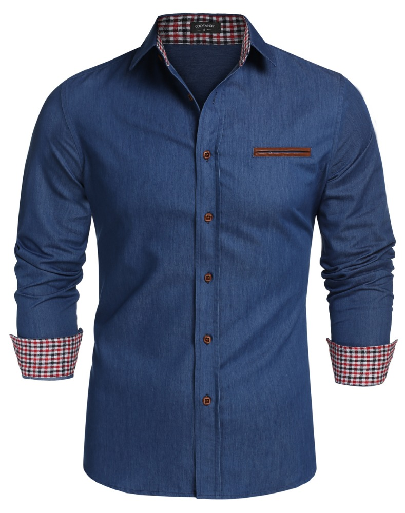 COOFANDY Men Long Sleeve Turn Down Neck Pure Color Loose Tops Casual Dress Cotton Button Down <strong>Shirts</strong>