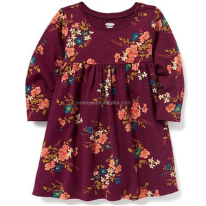 Wholesale new design kids long sleeve fall dress good quality flower printed baby girls floral casual dresses