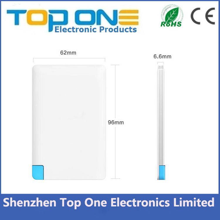 Alibaba best selling shenzhen factory consumer electronics slim power bank with built in micro charger for mobile phones