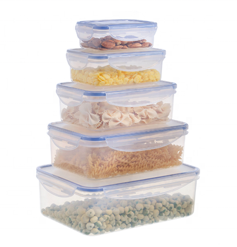 5 Pieces Stackable Airtight Food Containers Waterproof Airtight Container  Meal Prep Food Storage Box Set With