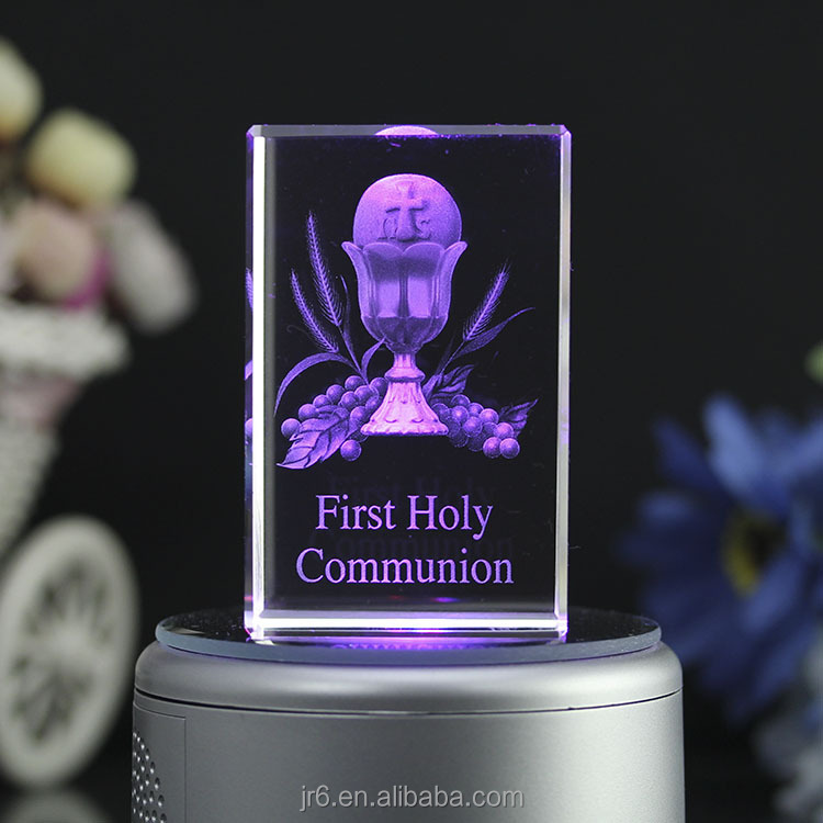 3D Laser holy Engraving photo Crystal cube for gift