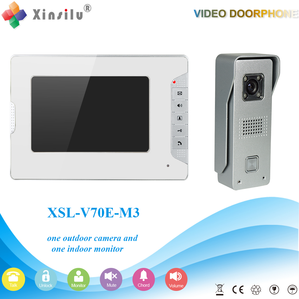"XSL-V70E-M3 1V1 XINSILU Manufacturer 2016 HOT Sale 7"" Handfree Video Door Phone Intercom System With 4 Wires"