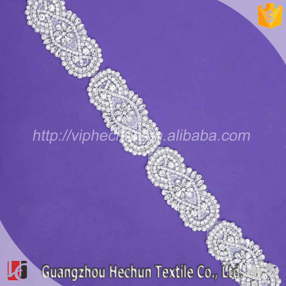 HC-8575 Wholesale plastic bridal beaded pearl decorative plastic rhinestone trim
