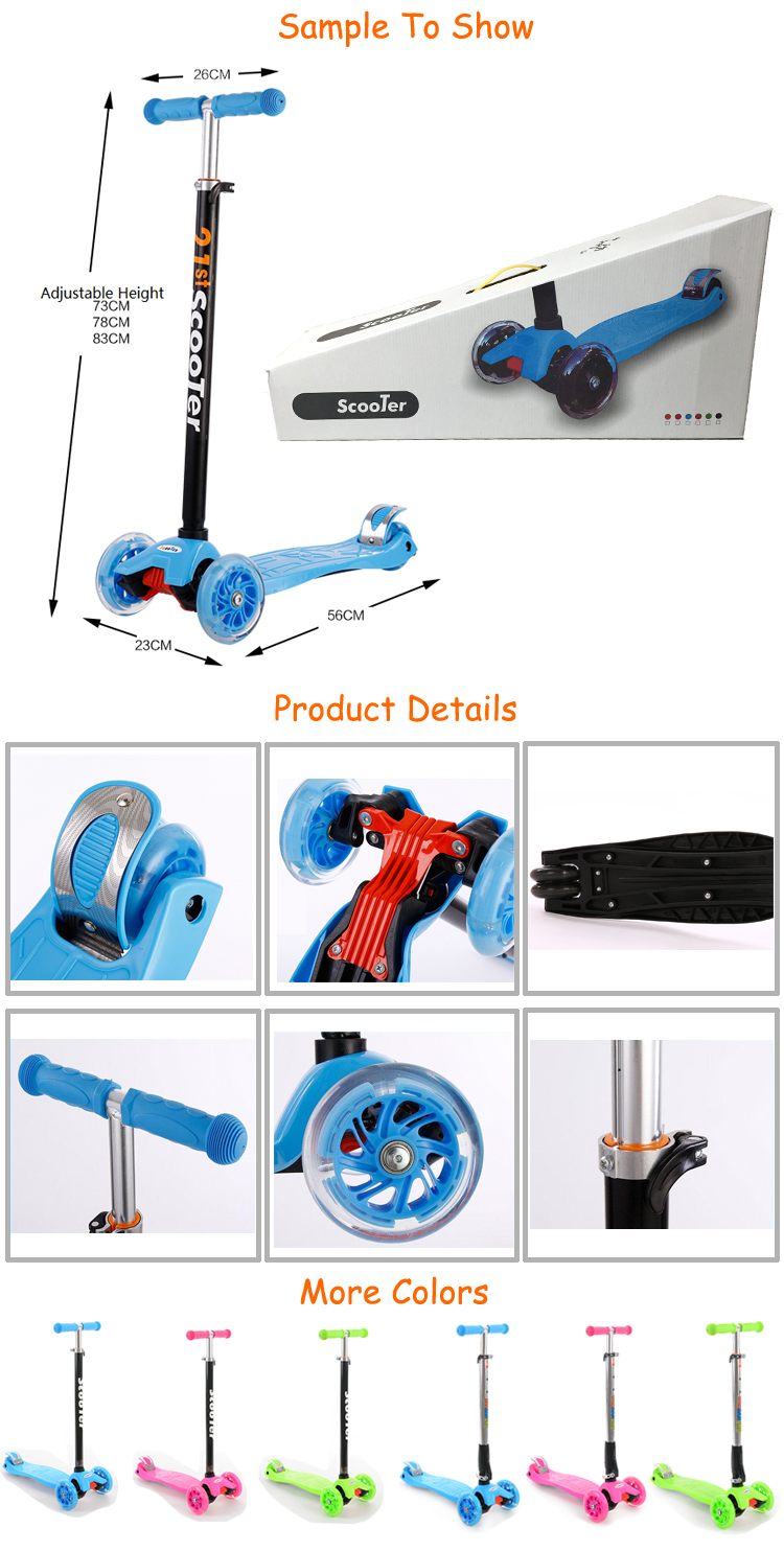Alibaba china manufacturer wholesale cheap price kids adjustable height 3 wheel freestyle scooter