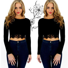 New Women Sexy Lace Crop Tops Long Sleeve Black Casual Blouse T Shirt