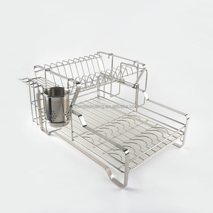 Space saving stainless steel 2 tier dish rack and drainer