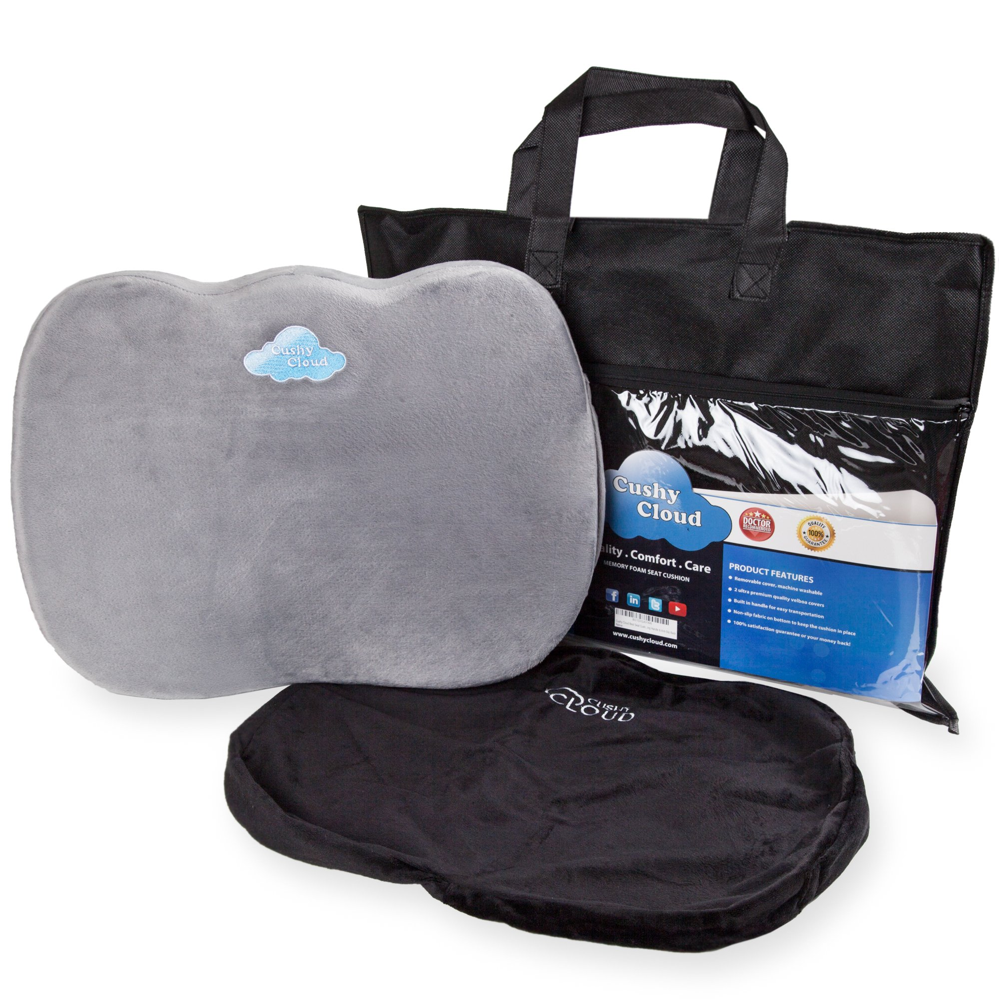 """Cushy Cloud Memory Foam Seat Cushion - Ergonomic Chair Pad - Provides Instant Pain Relief - Comes with Carrying Handle and Anti-Slip Back - 2 Plush Covers Included - Cushion Size: L14 x W18 x H2.5"""""""