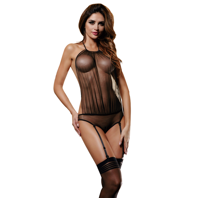 Allure mesh backless halter sexy female honeymoon sex black women lingerie very hot transparent garter belt lingeries