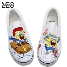China Brand Shoes Low Top Animation Spongebob Girls Boys Children Hand Painted Canvas Shoes Child Kids