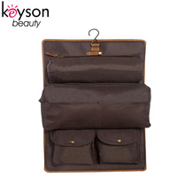 Keyson Personalized Brown Leather Hanging Travel Dopp Kit for Men