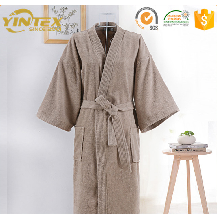 Organic Cotton L//XL Size Terry Towelling Bath Robe 550 gsm Unisex Natural Brown