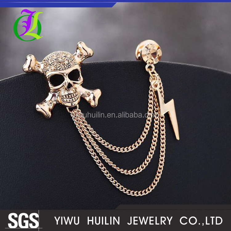 JTBR0031 Yiwu Huilin Jewelry Halloween Wedding gift skull shape men's and women brooch pit for suit