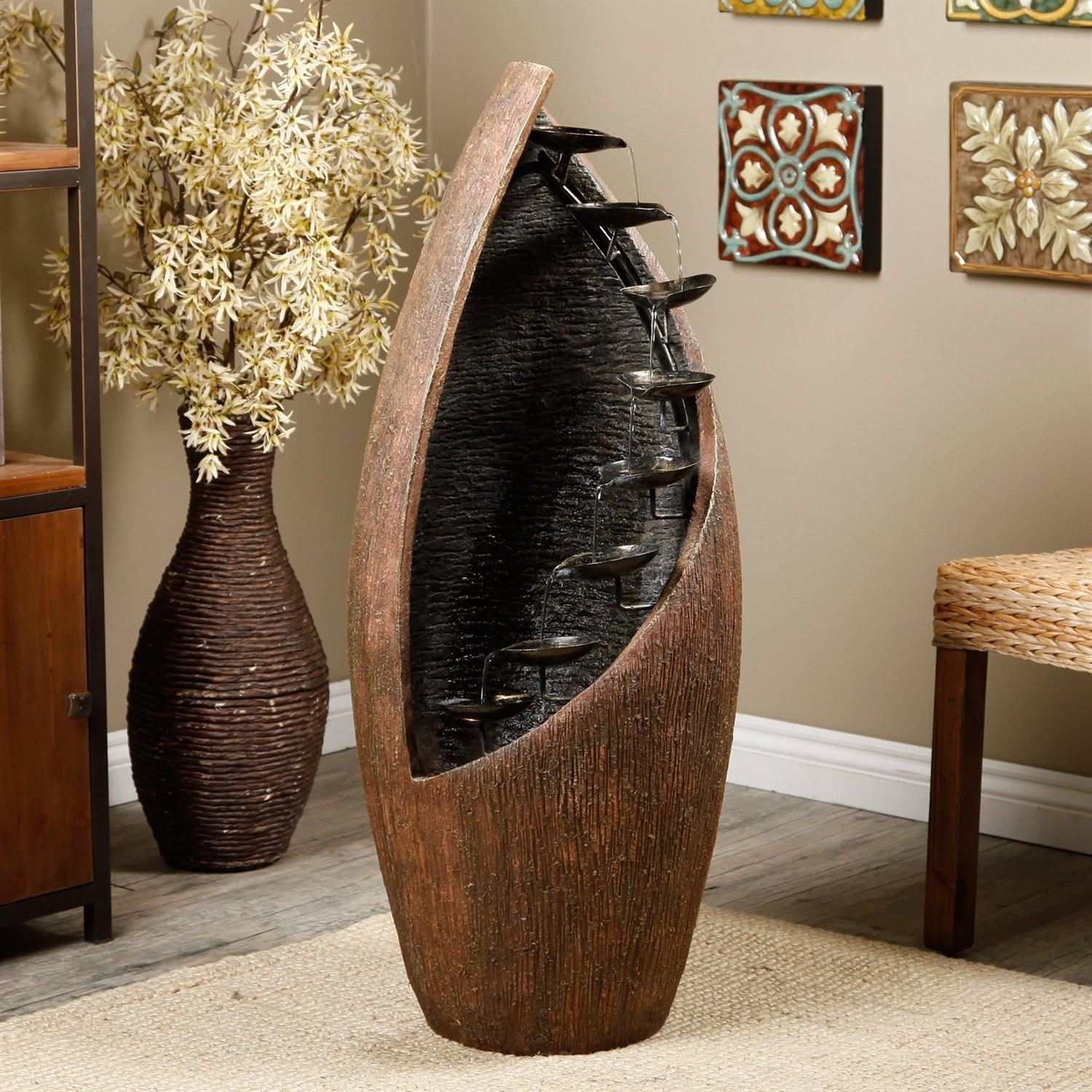 Indoor / Outdoor Cascading Trickling Fountain with Light - Water Recirculates