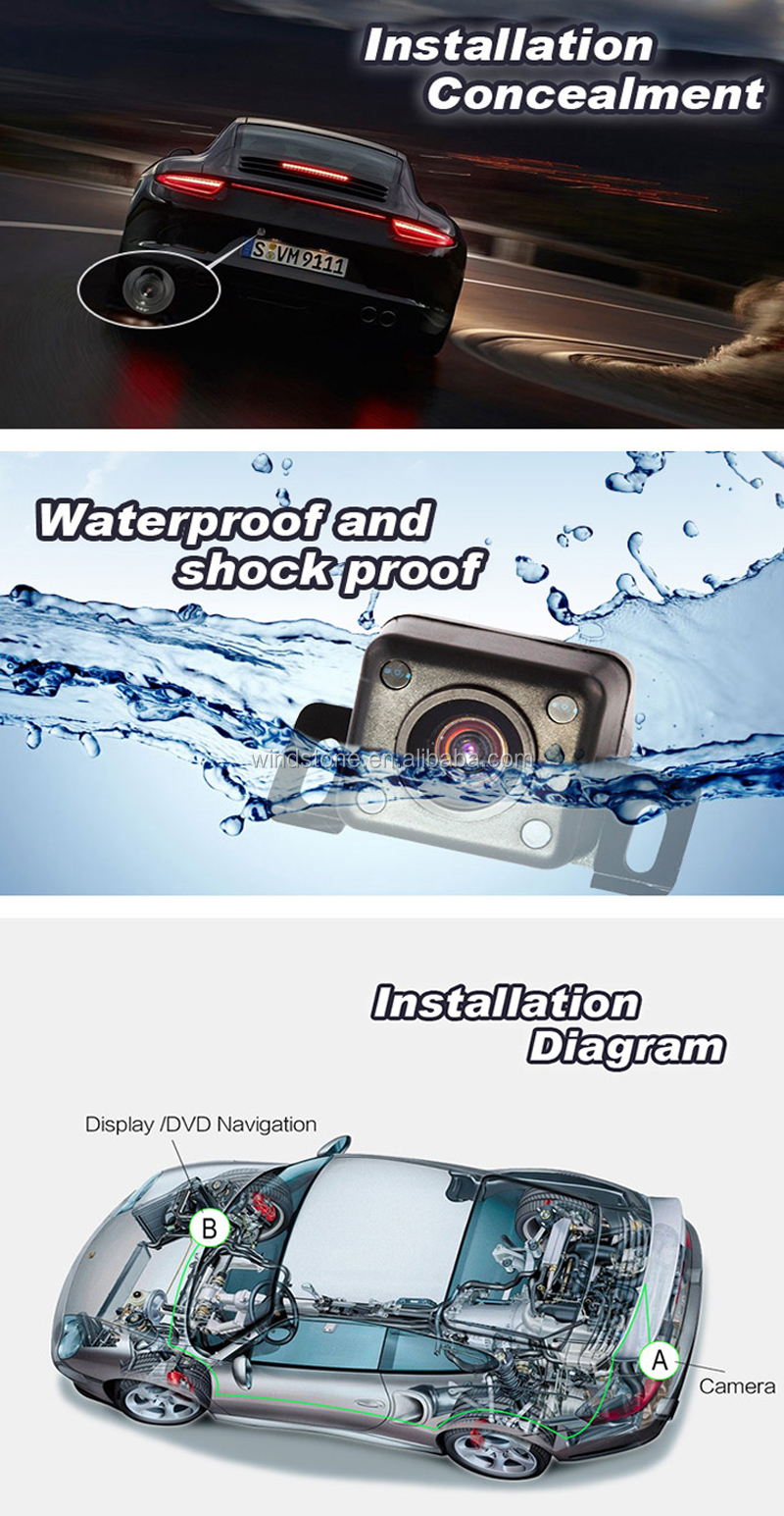 175 degrees Wide Angle HD Easy-Installation 12 LED Night Vision Waterproof Rear View Back Up Camera