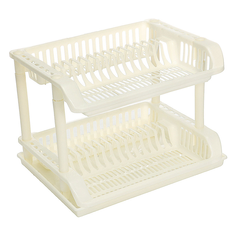 2 Layer Plastic Dish Drainer Rack Home