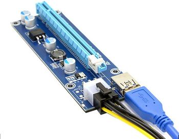 USB 3.0 PCI-E Riser Express 1X 4x 8x 16x Extender Riser Adapter Card SATA 15pin Male to 6pin Power Cable
