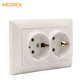 Free sample white smart home eu type ome odm 16a 220v double schuko socket outlet