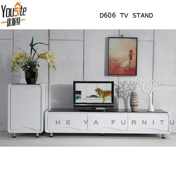 Modern Design High Gloss White Wooden Corner Led Tv Wall Unit
