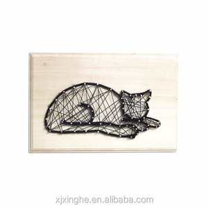 DIY kit all hand-made wooden decor funny cat String Art