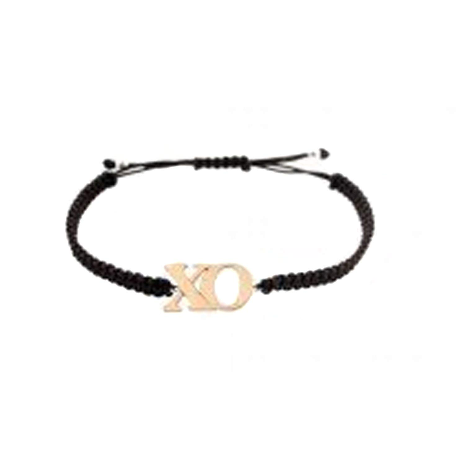 "Lori Bonn Gold Plated Silver ""Kisses & Hugs"" Black Macrame Charm Bracelet With ""X & O"", 7.5"" Adjustable"