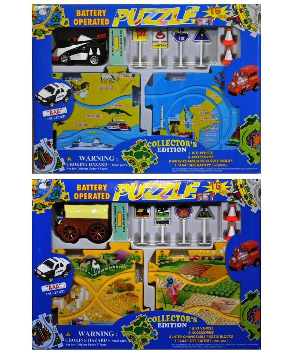 2 Puzzle Vehicle Sets: Formula Car & Wild Wild West Stagecoach