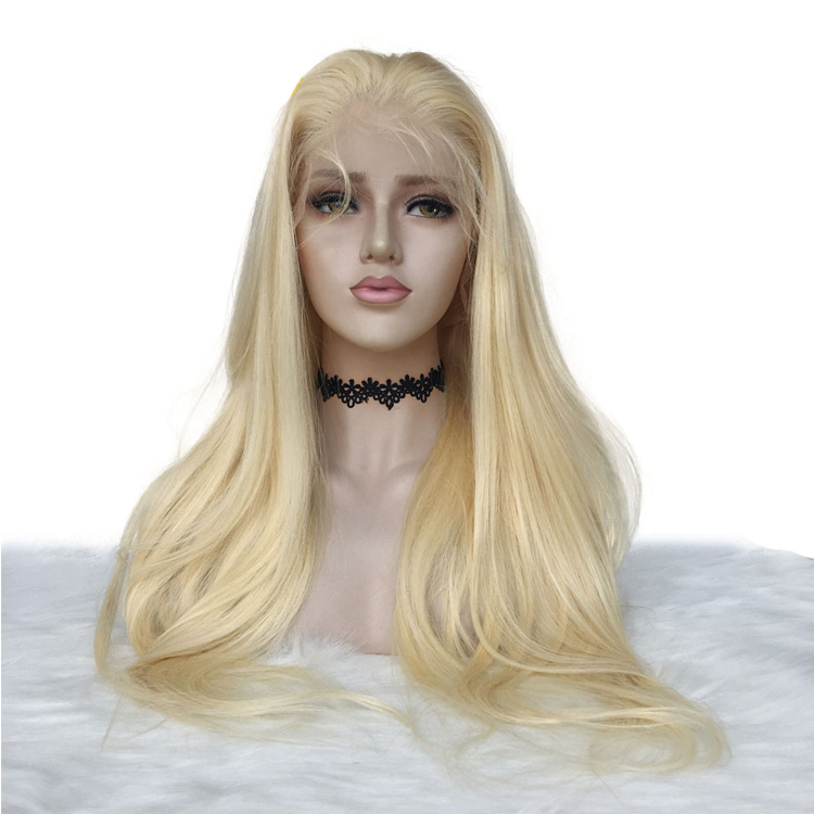 #613 blonde lace front wig 130% straight brazilian hair mink human hair cuticle aligned pre-plucked baby hair, N/a