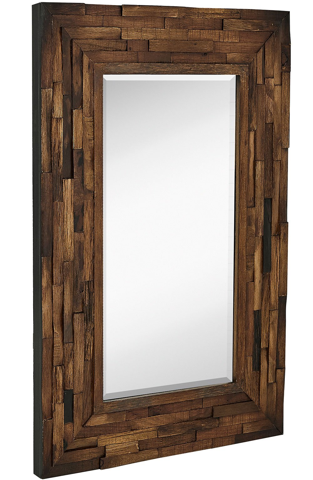 Get Quotations Rustic Natural Wood Framed Wall Mirror Solid Construction Gl Vanity Bedroom