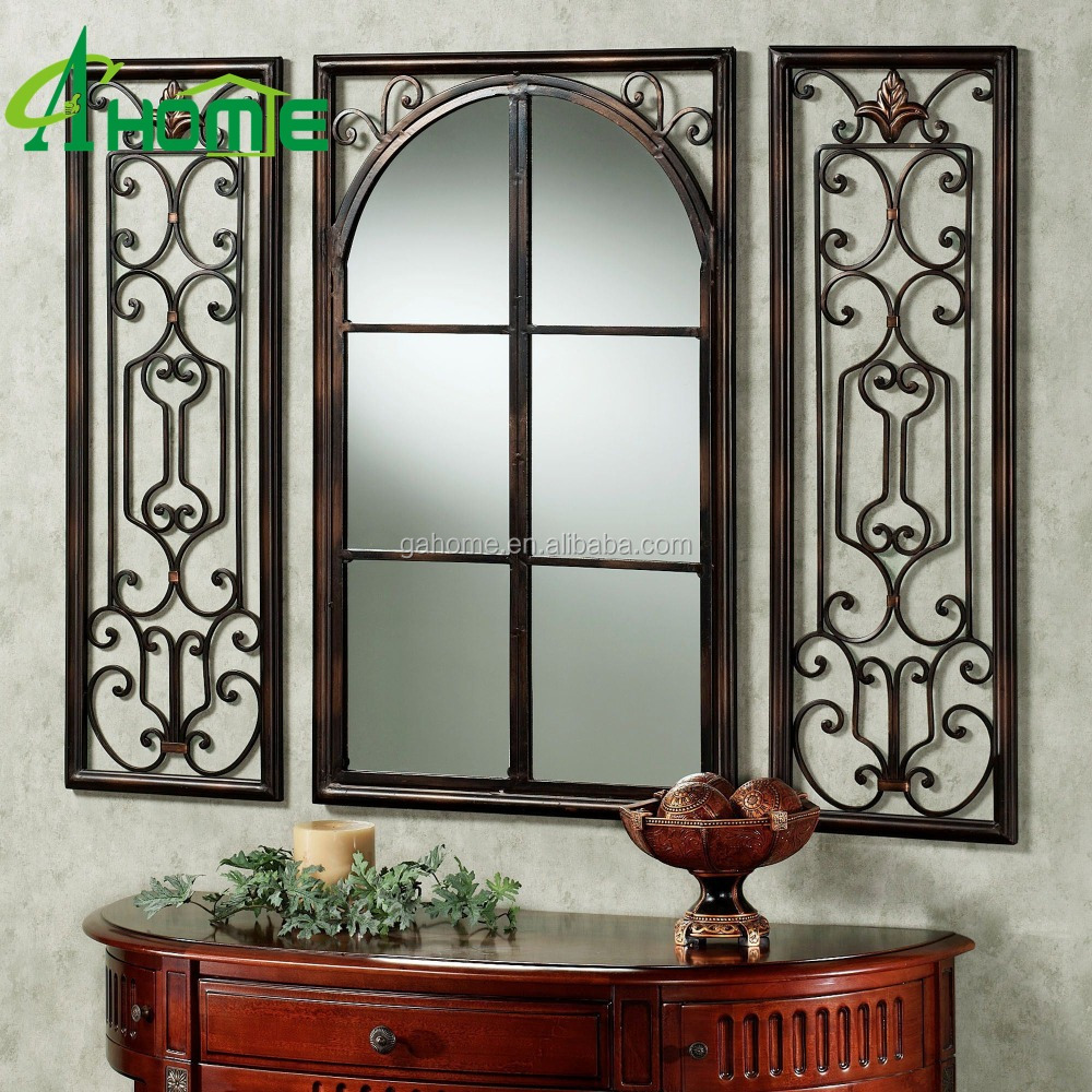 Window Shape Antique Finished Metal Framed Mirror For Wall/home Decoration  - Buy Wall Mirror,Antique Finished Metal Framed Mirror,Window Shape Mirror  ...