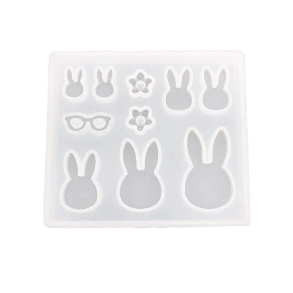 Homyl 9 Designs Rabbit Flowers Jewelry Making Silicone Mold Moulds, for Polymer Clay, Crafting, Resin Epoxy, Pendant Earrings Necklace Making, DIY Mould Tools
