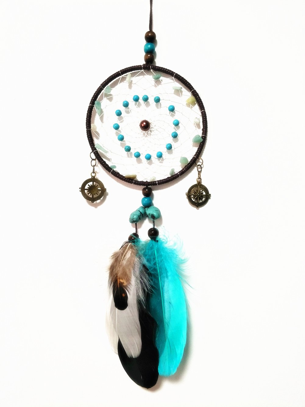"Turquoise Car Dream Catcher Handmade Feathers for Rear View Mirror ~Diameter 4.3"",Length 11.8"" (Color 2)"