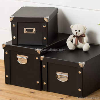 Custom Foldable Paper Decorative Storage Box With Lid And Metal Handle