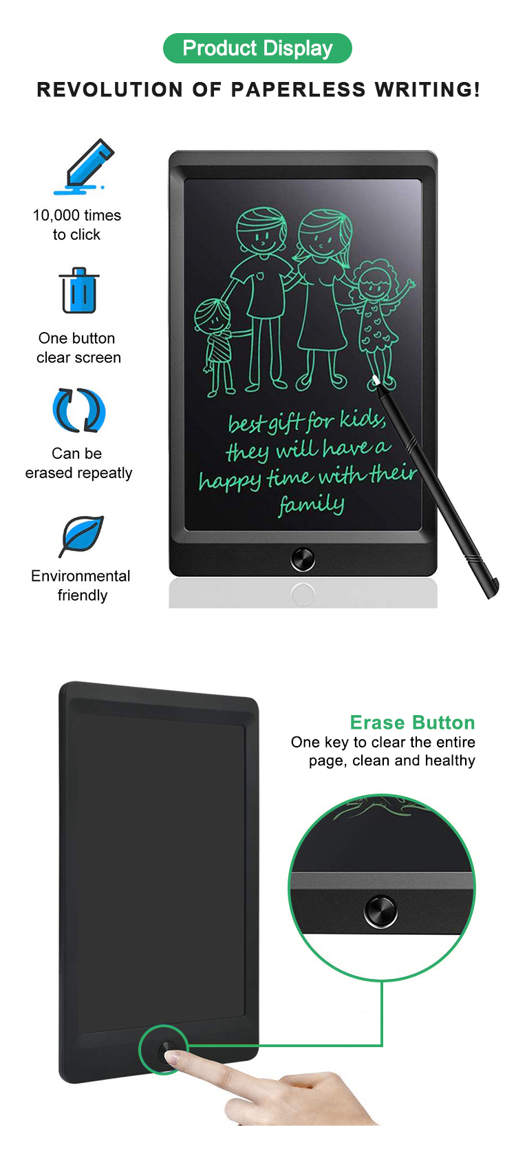 Newyes Brand Best 8.5 Inch Paperless Drawing Board E-Writer Lcd Writing Tablet For Kids