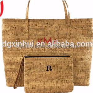 customize wholesale Natural 2 sets cork wood bag Large Capacity women Shoulder Bags Tote handbags