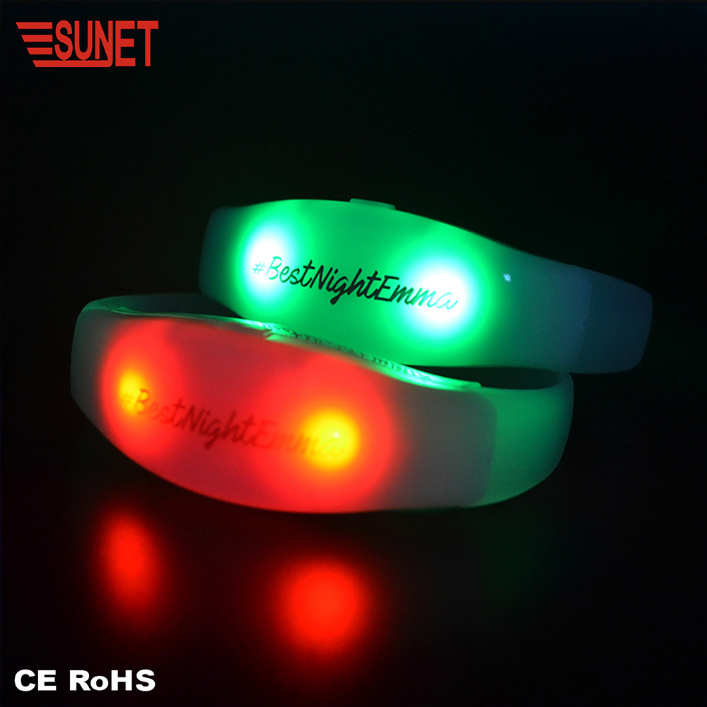 glowing concert party decoration luminous remote controlled WIFI / wireless led bracelet