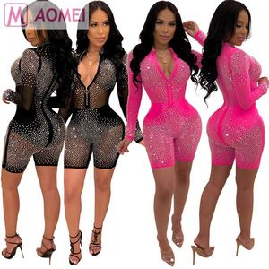 X1025 wholesale women nightclub mesh transparent rhinestone bodycon women sexy jumpsuits and rompers