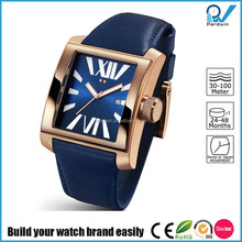 Build your watch brand easily square case brand watch factory china stainless steel case genuine leather strap