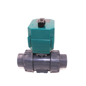 UPVC double union thread DC24V CR04 spring return normally close motorized solenoid PVC plastic valve