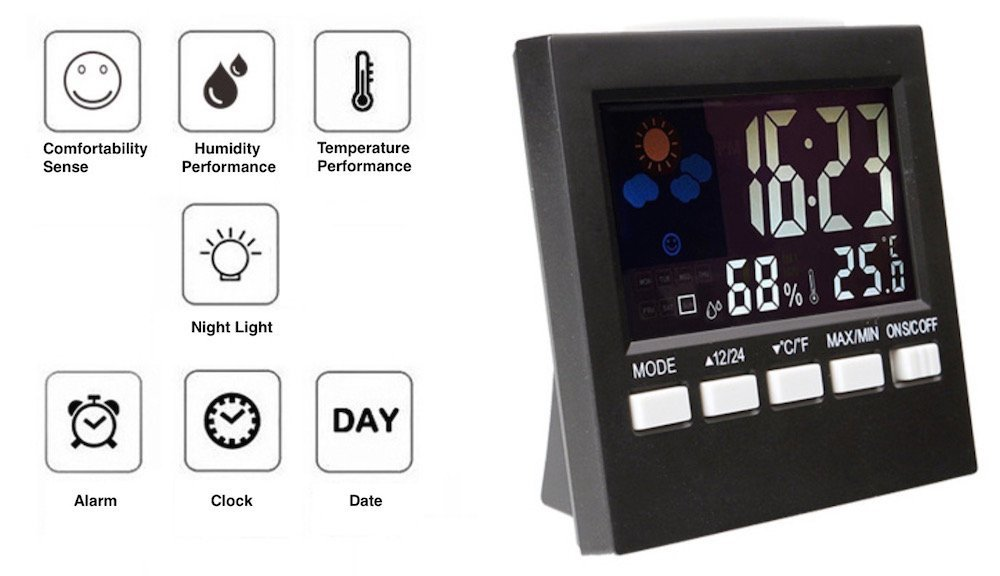 Cheap weather station humidity find weather station humidity deals get quotations indoor humidity monitor hygrometer digital thermometer monitor home weather station and night light with lcd display gumiabroncs Choice Image