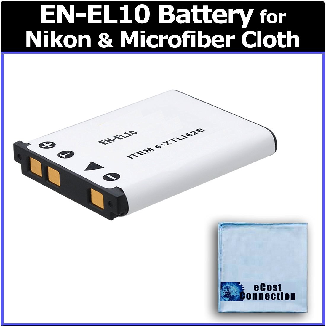 EN-EL10 Long Life Battery for Nikon Cameras and Camcorders: S60, S80, S200, S205, S210, S210, S220, S230, S500, S510, S520, S570, S600, S700, S3000, 3100, S3000, S4000, S5100 + eCostConnection Microfiber Cloth