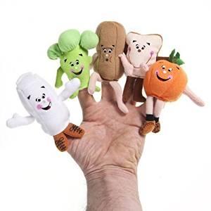 Food Groupie Set of 5 Broccoli Orange Bread Peanut Milk Carton Finger Puppets by Food Groupie