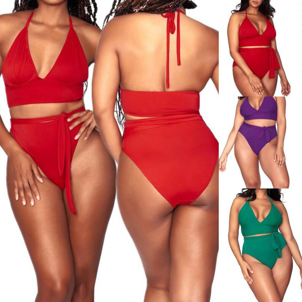 Yoga Diligent 2019 Plus Size Women Black Dot Ladies Bikini Set High Waist Swimsuit High Waisted Biquini Bathing Beach Suit Xxxl