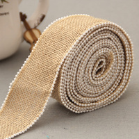 wholesale 4cm wired plastic pearl beaded jute burlap ribbon for decoration