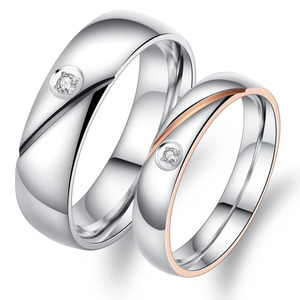 Titanium Stainless Steel CZ Love Devotion Promise Ring Couple Wedding Band Set