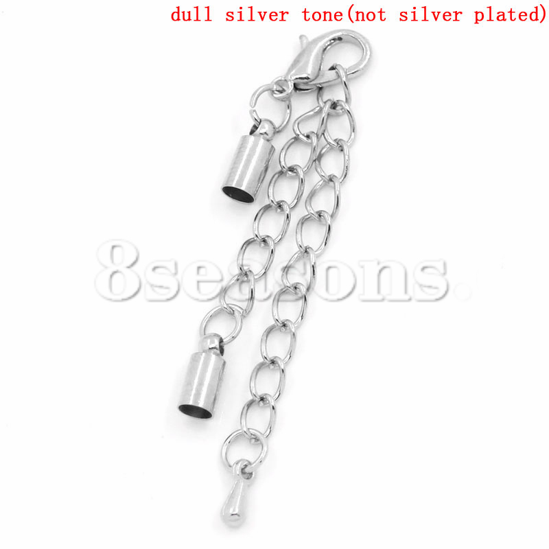 Custom Design Lobster Clasp Tail Extender Chain Crimp End Caps Silver Tone 12mm x 7mm 23mm x 7mm,10Sets